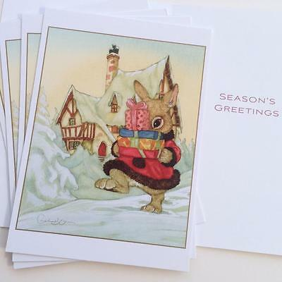 5 Michael Hague Christmas Holiday Cards - Rabbit Bunny Carrying Presents Snow