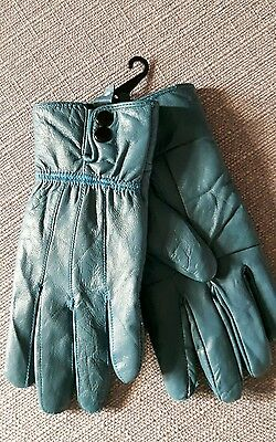 new ladies leather gloves,teal,size large