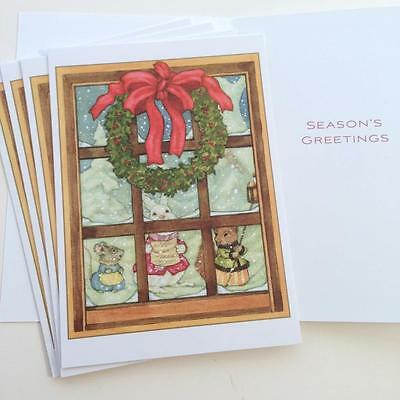 5 Michael Hague Christmas Holiday Cards - Rabbit Bunny Mouse Squirrel Wreath