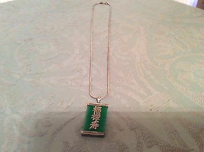 Beautiful vintage fully hallmarked 925 silver Jade pendant Necklace