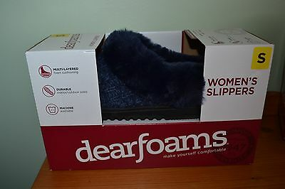 Ladies Navy Fur Lined Dearfoams Multi Layered Durable Slippers Size 3/4
