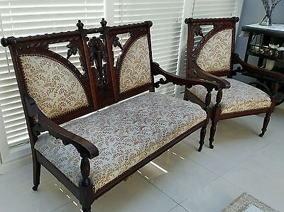 Victorian Carved Wood Love Seat and Chair