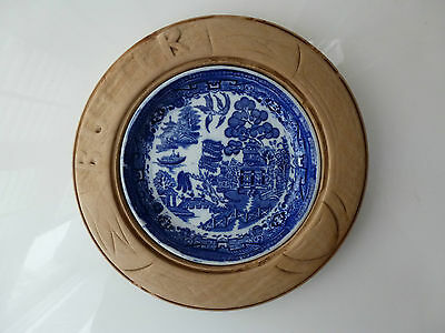 Vintage Treen Carved Wooden Butter Dish with Blue and White Willow Insert