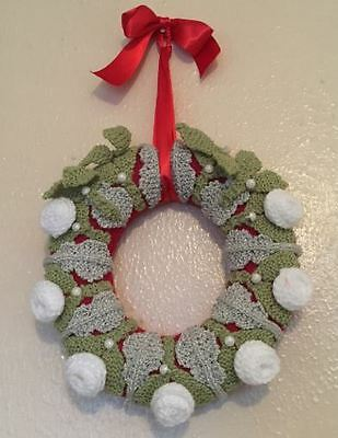Handmade Knitted Christmas Wreath: Mistletoe and Winter Rose - Ideal Gift