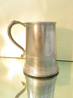 Vintage Pewter Tankard, Glass Bottom Made in England Top Quality Substantial