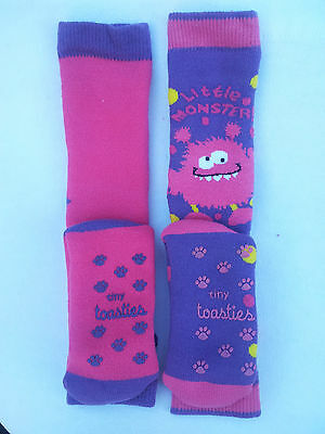 Totes Toasties  Girls Slipper Sox 1-3 Yrs Slip Resistant/twin Pack / New/ Purple