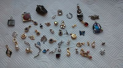 Mixed Lot Silver Tone And Gold Tone Pendants And Earrings