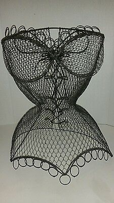 19 inch tall  Black Mesh Wire Corseted Bust Dress Form