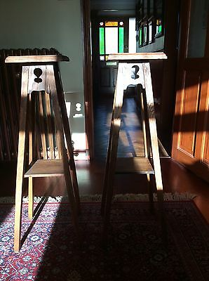 Pair Oak Arts And Crafts Style Antique Plant Or Lamp Stands