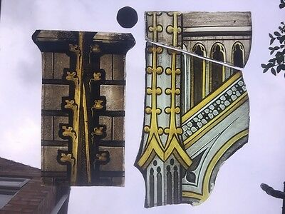 A Selection Of Hand Painted Victorian Stained Glass Church Fragments
