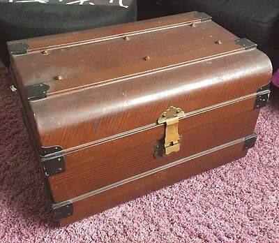 Large Metal Trunk/Chest - Wood Effect