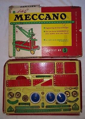 Vintage 1960s Meccano Outfit no 3 - boxed, incomplete