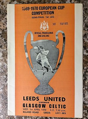 Leeds United V Glasgow Celtic European Cup Semi Final 1st Leg 1970