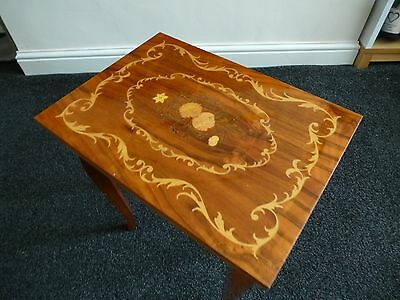 Vintage Italian Antique Style Musical Sewing Box Card Side Table Marquetry Inlay
