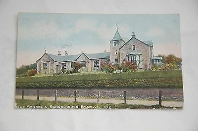 Original Edwardian Hand Tinted Postcard The School Ballinluig Posted 1906