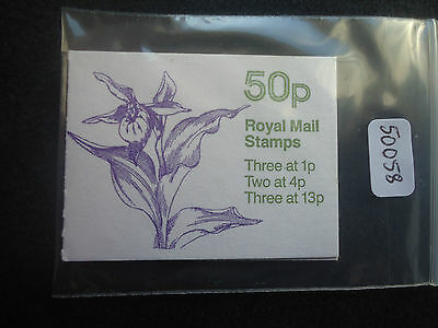 GB folded booklet 50p orchids 2 FB28 (good perfs) MNH