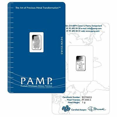 1 gram PAMP FORTUNA  platinum bullion bar