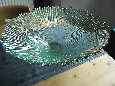 Beautiful heavy & large glass bowl /  table centrepiece