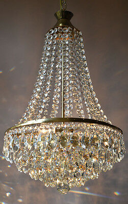Sale Brass Antique French Vintage Lead Crystal Chandelier Old Lamp Home Lighting