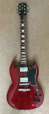 Vintage Sg Cherry Red Electric Guitar Righty And Gig Bag
