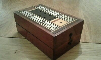 Vintage BONE INLAID WOODEN CRIBBAGE BOARD - [FOLDS TO BOX] - PEGS