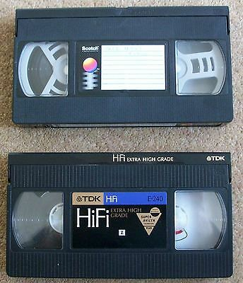 2 x Used 240 4 Hour VHS Video Cassette Tapes TDK Hi-fi & Scotch