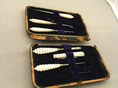 Antique 19c Mother Of Pearl & Steel Manicure Dressing Set Royal Coat Of Arms Box