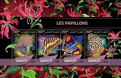 Z08 IMPERFORATED DJB16514a DJIBOUTI 2016 Butterflies MNH