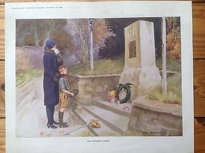 Ww1 War Remembrance Memorial Print - 'His Father's Name'