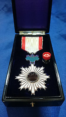 WW2 JAPANESE Order of the Rising Sun 6th Cl. Medal Pure Silver Navy Army WWII