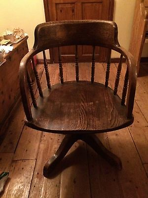 Antique Swivel Reclining 'Captain's' Chair