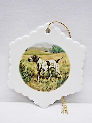 English Pointer Dog Snowflake Porcelain Christmas Tree Ornament Fired Decal-G
