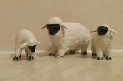 Three Ceramic Black Faced Sheep Family One Large Two Smaller