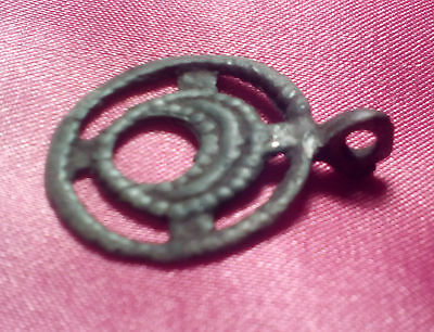 "Ancient bronze pendant ""Moon in circle"" Kievan Rus Vikings, 9-13 AD."