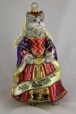 Catherine of Aragon Cat Angel Wings Polish Hand Painted Glass Christmas Ornament