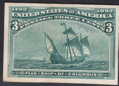 United States 1893 Columbian Plate Proof on Card. Scott 232P4, 3 Cents