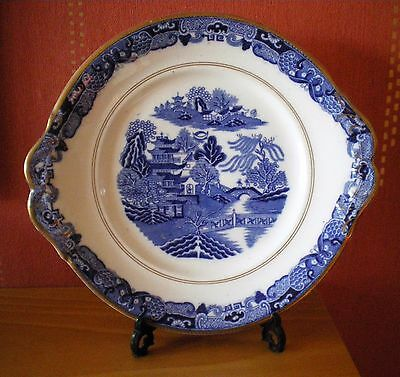 Unmarked antique willow pattern sandwhich plate with gilding