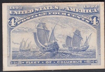 United States 1893 Columbian Plate Proof on Card. Scott 233P4, 4 Cents