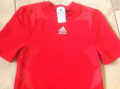 Adidas Mb -Lb Bright Red Stretch Sport Long T.shirt Top Fit 24 - 26 Chest Immac