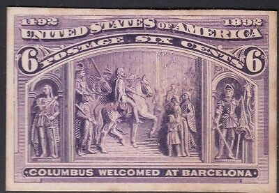 United States 1893 Columbian Plate Proof on Card. Scott 235P4, 6 Cents