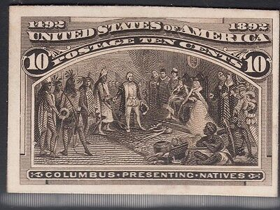 United States 1893 Columbian Plate Proof on Card. Scott 237P4, 10 Cents