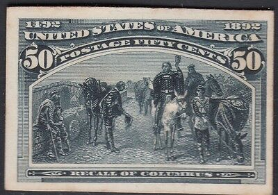United States 1893 Columbian Plate Proof on Card. Scott 240P4, 50 Cents