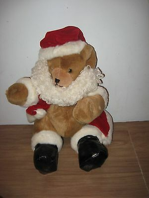 Enesco Plush Santa Bear 1996 Jointed Legs Removable Coat