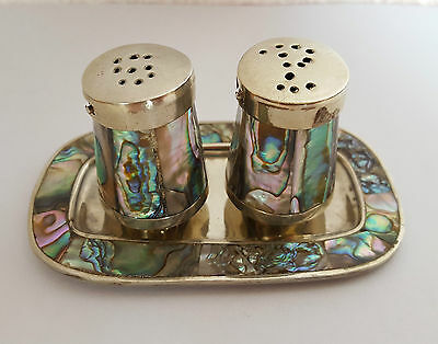 Vintage MOTHER OF PEARL Silver Plate SALT & PEPPER with TRAY - ALPACA