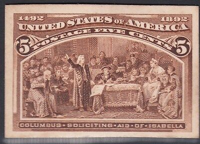 United States 1893 Columbian Plate Proof on Card. Scott 234P4, 5 Cents
