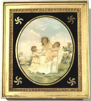 Stunning GEORGIAN Paint & SILKWORK Embroidery Antique Sampler MOTHER & CHILDREN