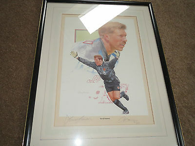 Large Framed Limited Edition Print of David Seaman by Gary Keane. Number 96/495