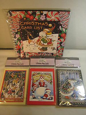 Mary Engelbreit Christmas Card List Book  AND 3pks  of Holiday Note Cards