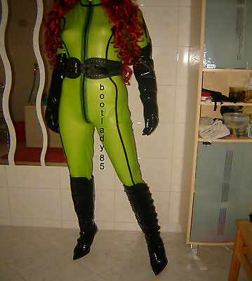 Neu Latex Overall Catsuit Grün / Transparent Gr. XL / XXL