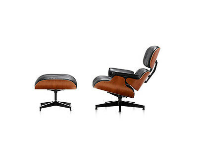 Eames Style Cherry Lounge Chair and Ottoman Set in Black Top Grain Leather